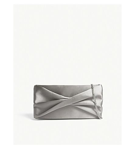 REISS Baby beau satin clutch bag (Grey