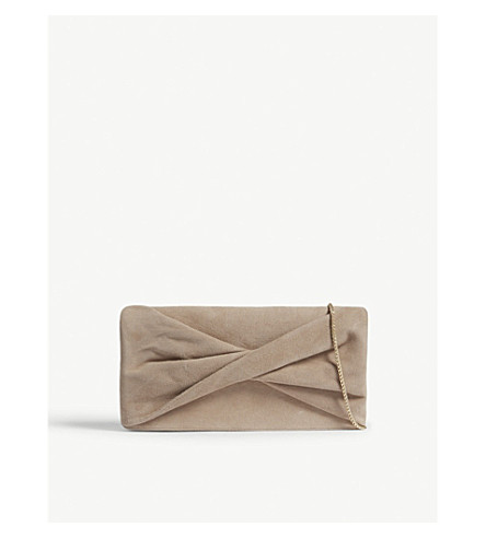 REISS Beau knot suede clutch (Clay