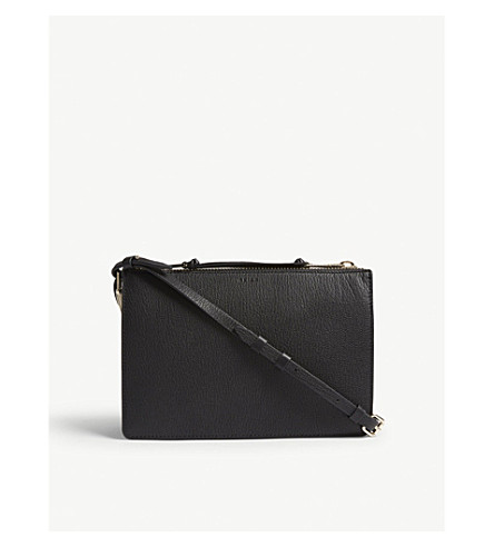 REISS Dalston mini grained leather cross-body bag (Black