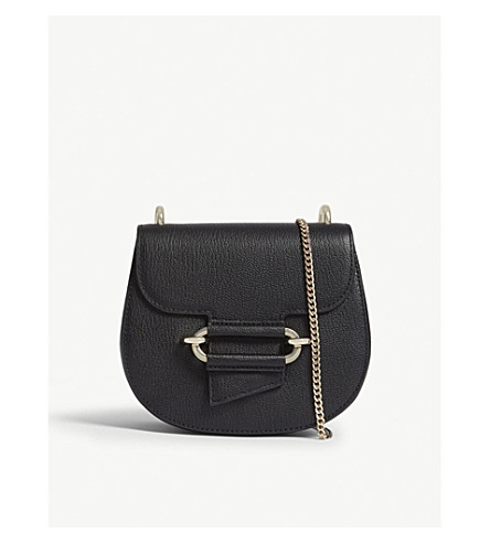 REISS Maltby mini grained leather cross-body bag (Black