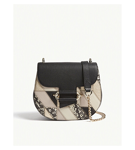 REISS Maltby patchwork leather cross-body bag (Multi