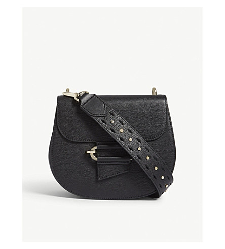 REISS Maltby grained leather cross-body bag (Black