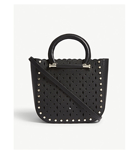 REISS Mayfair mini leather tote (Black