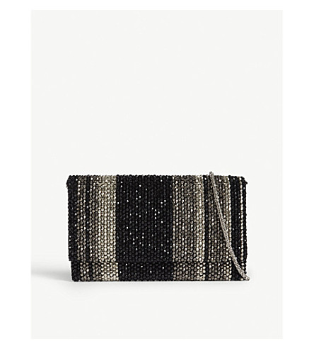 REISS Minty striped bead clutch (Black/silver