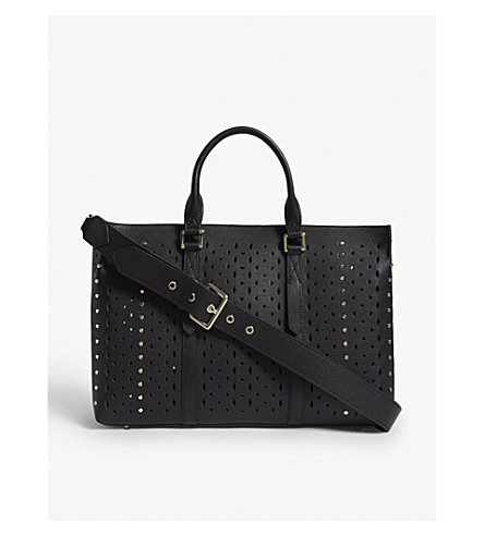 REISS Picton laser-cut leather tote (Black