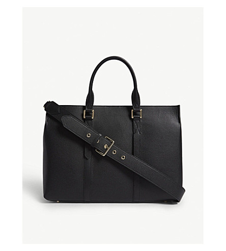 REISS Picton grained leather tote (Black