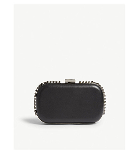 REISS Victoria crystal-embellished leather clutch (Black