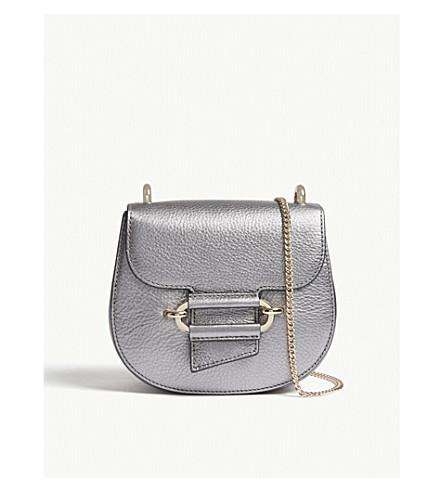 REISS Maltby mini metallic leather cross-body bag (Silver