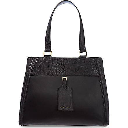 REISS Harlow tote bag (Black/white
