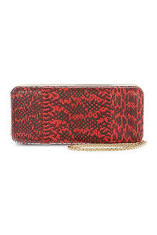 REISS Snake-embossed clutch