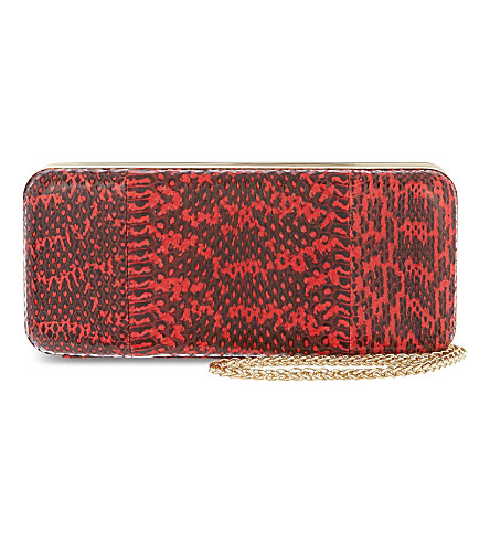 REISS Snake-embossed clutch (Paprika