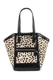 REISS Animal-print cow-hair and patent-leather shoulder bag