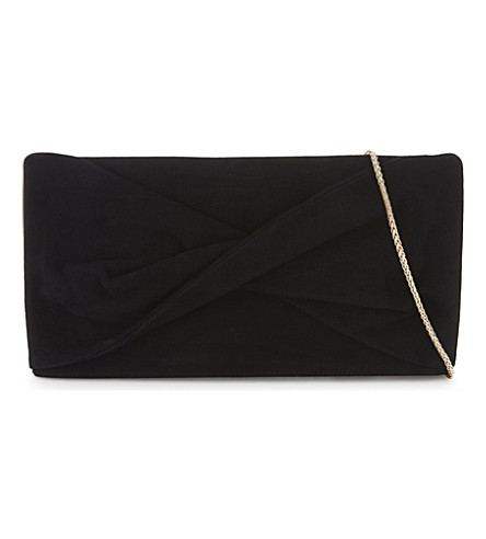 REISS Beau suede knotted clutch (Black