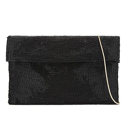REISS Nella beaded cross-body bag (Black