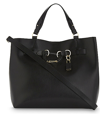 REISS Bleecker structured leather tote (Black