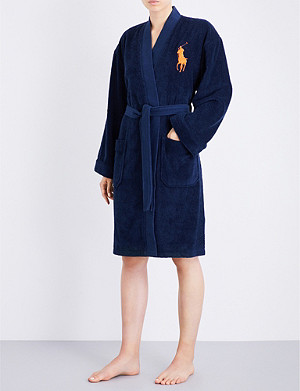 RALPH LAUREN HOME Big player cotton robe navy
