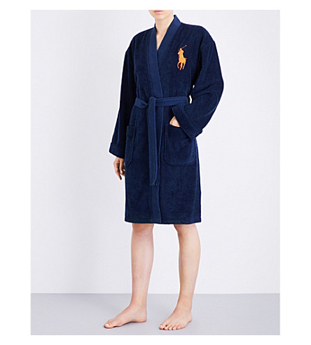 RALPH LAUREN HOME Big player cotton robe navy (Navy