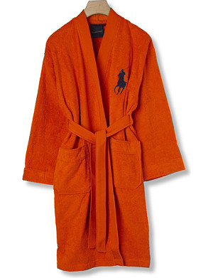 RALPH LAUREN HOME Big player cotton robe orange