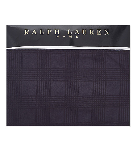 RALPH LAUREN HOME Glen Plaid cotton-sateen flat sheet (Navy