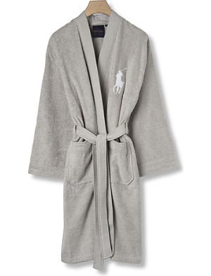 RALPH LAUREN HOME Big player cotton robe grey
