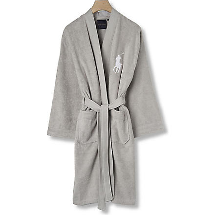 RALPH LAUREN HOME Big player cotton robe grey (Grey