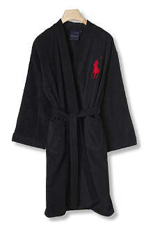 RALPH LAUREN HOME Big player cotton robe onyx