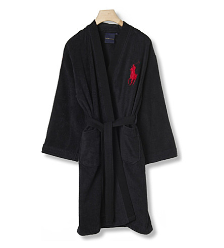 RALPH LAUREN HOME Big player cotton robe onyx (Onyx
