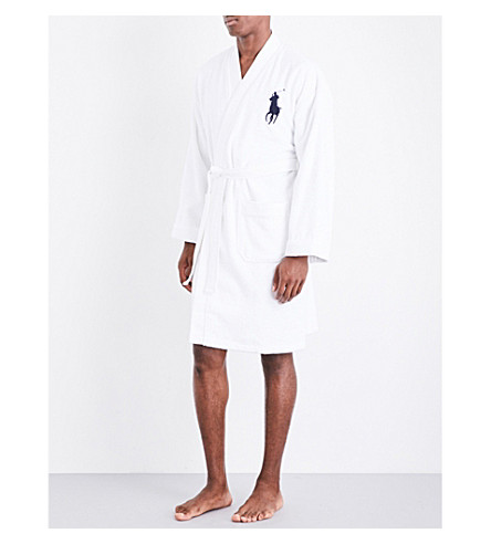 RALPH LAUREN HOME Logo-embroidered cotton robe (White