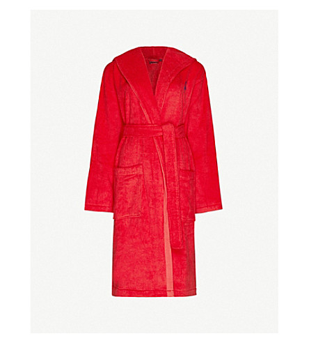 RALPH LAUREN HOME Logo-embroidered cotton dressing gown (Red