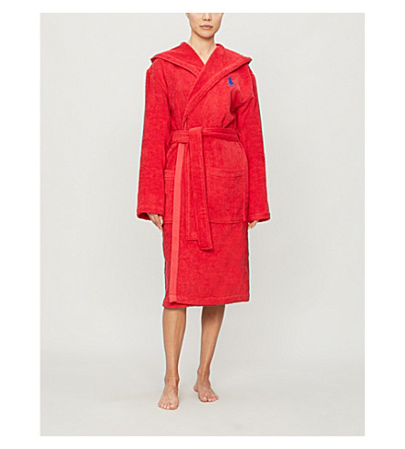 RALPH LAUREN HOME Logo-embroidered cotton robe (Red