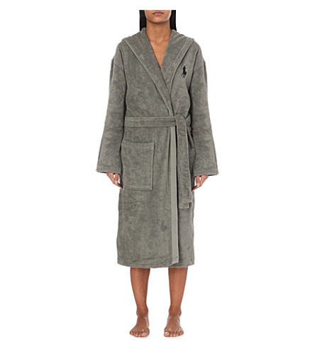 RALPH LAUREN HOME Logo-embroidered cotton dressing gown (Pebble