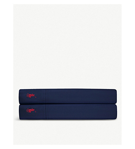 RALPH LAUREN HOME Player single flat sheet (Navy