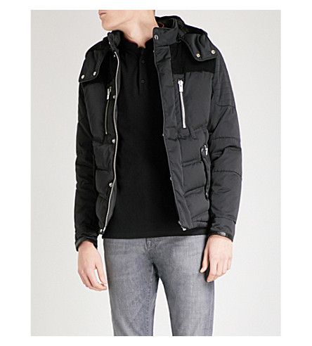 THE KOOPLES Corduroy-panelled shell down jacket (Bla01