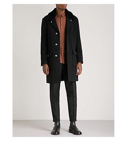 THE KOOPLES Edgar faux-fur collar wool coat (Bla01