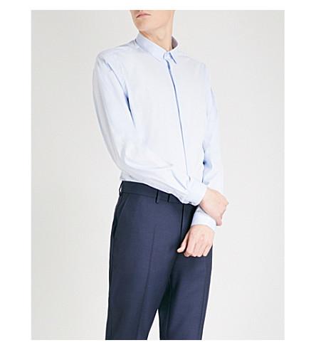 THE KOOPLES Fitted cotton-poplin shirt (Blu01