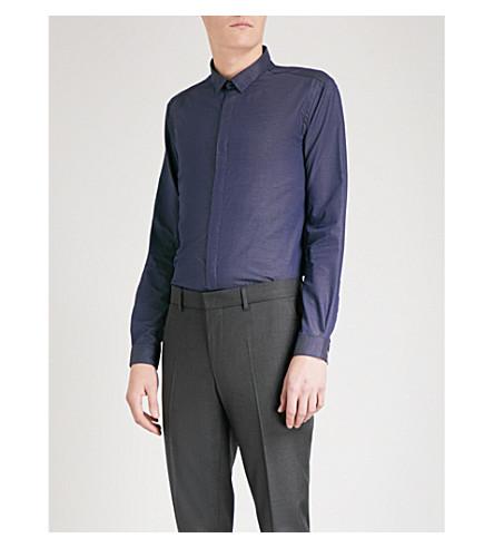 THE KOOPLES Micro polka dot fitted cotton-twill shirt (Nav29