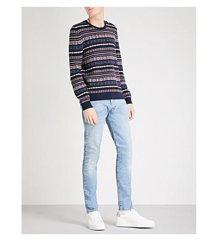 THE KOOPLES Jacquard-knit striped wool jumper (Nav18