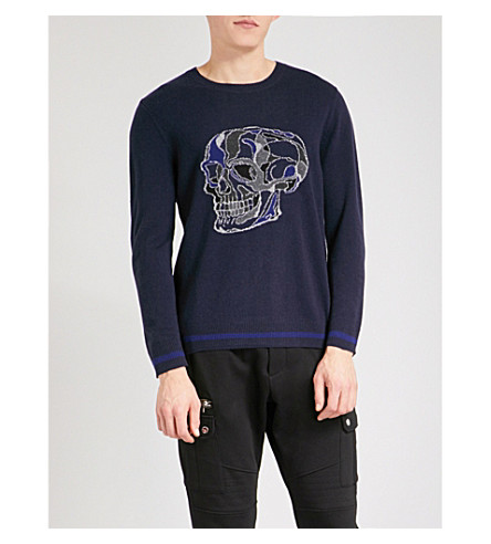 THE KOOPLES Skull-intarsia wool and cashmere-blend jumper (Nav01