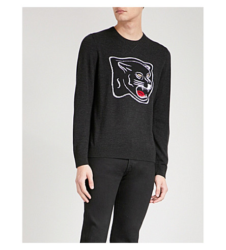 THE KOOPLES Panther intarsia wool jumper (Gry02