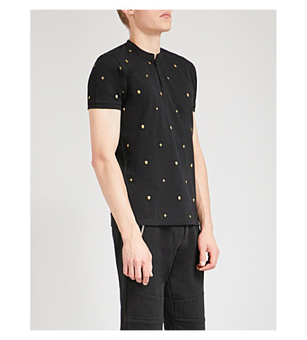 THE KOOPLES Embroidered-detail cotton-piqué polo shirt (Bla66