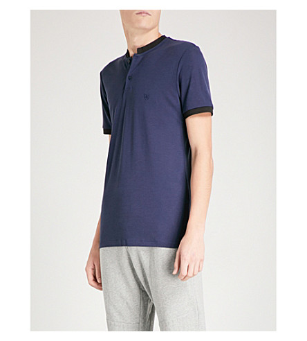 THE KOOPLES Officer collar cotton-piqué polo shirt (Blu01