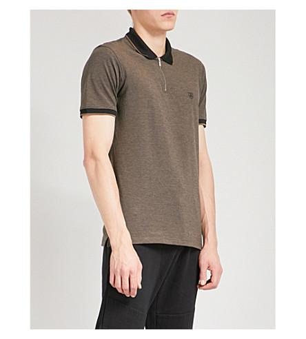 THE KOOPLES Khaki cotton piqué zipped polo shirt (Kak33