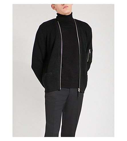 THE KOOPLES Zip-up wool-blend cardigan (Bla01