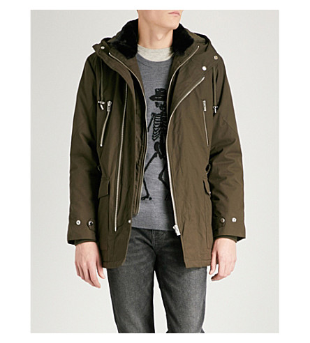 THE KOOPLES Andrew faux-fur collar cotton-twill parka jacket (Kak01