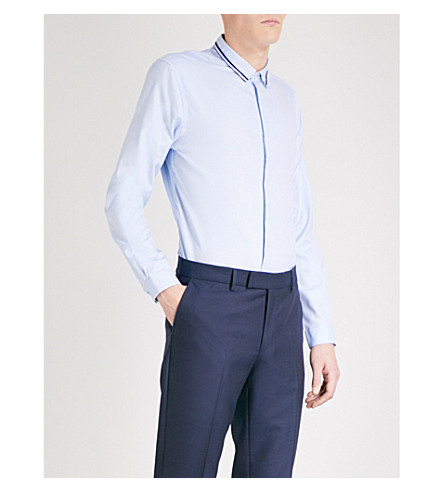 THE KOOPLES Contrast-piping cotton shirt (Sky01