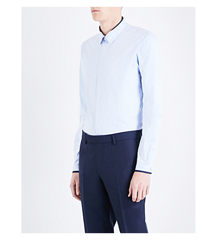 THE KOOPLES Spring Shutter-print fitted cotton shirt (Sky01
