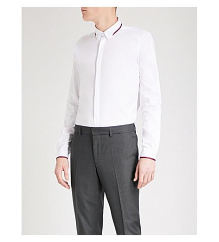 THE KOOPLES Grosgrain-trim cotton-twill shirt (Whi01