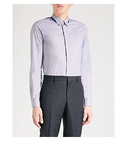 THE KOOPLES Contrast-trim fitted cotton shirt (Blu21