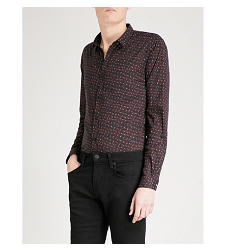 THE KOOPLES Fallen Roses fitted cotton shirt (Bla26