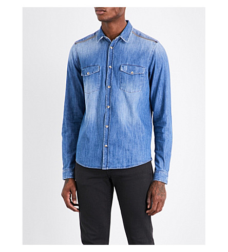 THE KOOPLES Zipped-shoulder classic-fit denim shirt (Blue6